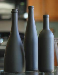 chalkboard spray painted wine bottles!      www.noplacelykehome.blogspot.com