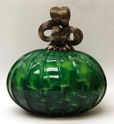 Green Blown Glass Pumpkin
