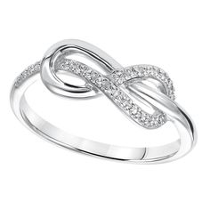 Cambridge Sterling Silver 1/10ct TDW Diamond Infinity Ring (I-J, I2-I3) | Overstock.com Shopping - The Best Deals on Diamond