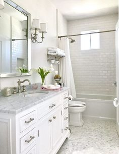 Thrilled to finally be able to share our new guest bathroom reveal with all of you. Thrilled to finally be able to share our new guest bathroom reveal with all of you. Guest Bathrooms, Hall Bathroom, White Bathroom, Bathroom Flooring, Bathroom Interior, Modern Bathroom, Bathroom Hardware, Guest Bathroom Remodel, Condo Bathroom