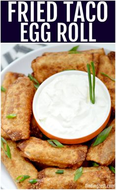 Game day is even better with these taco egg rolls! Everyone will love a hearty snack and it is easier to make than you think. This game day appetizer will be a slam dunk, home run or touchdown with all taco lovers. Mexican Appetizers, Game Day Appetizers, Mexican Food Recipes, Appetizer Recipes, Beef Recipes, Snack Recipes, Cooking Recipes, Game Day Recipes, Taco Appetizers