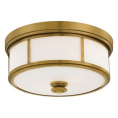 Harbour Point - 2 Lt Flush Mount - 2 Light Flush Mount in Liberty Gold Finish w/ Etched Opal Glass
