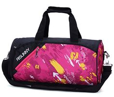 04c697075b42 RISUNNY Barrel Gym Bag Sports Duffel Bags with Shoes Compartment for Men  and Women (Rose red)