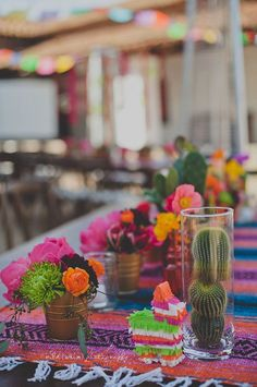 Fun and festive table spread for a beautiful, fiesta-themed 30th birthday party.