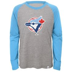 Toronto Blue Jays Majestic Youth Two to One Margin Long Sleeve Raglan T-Shirt - Gray