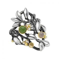 Forest - Ring in silver with serpentine, grey moon stone, rutile quarts and diamonds