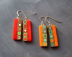 Ideas for fimo earrings Polymer Clay Kunst, Polymer Clay Pendant, Fimo Clay, Polymer Clay Projects, Polymer Clay Creations, Polymer Clay Earrings, Fused Glass Jewelry, Ceramic Jewelry, Glass Earrings