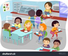 Illustration Of Kids In A Canteen Buying And Eating Lunch - 162386378 : Shutterstock