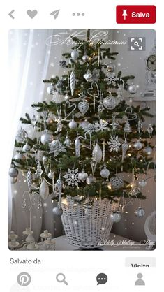 Top Silver And White Christmas Decoration Ideas - Christmas .-Top Silver And White Christmas Decoration Ideas – Christmas Celebration – All about Christmas Top 40 Silver And White Christmas Decoration Ideas Christmas Celebrations - Small Christmas Trees, Beautiful Christmas Trees, All Things Christmas, Xmas Tree, Christmas Villages, Silver Christmas, Noel Christmas, Christmas Crafts, Christmas Lights