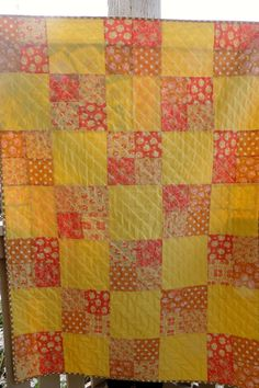 Yellow and Orange Baby Girl Quilt - On Sale!!! by StitchandBrew on Etsy