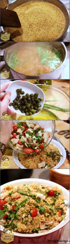 Toasted Couscous Salad with Asparagus and Tomatoes - Toasting makes the couscous fragrant, and gives it a slightly nutty flavor.  I added enough protein and veggies to make it a full but light meal, and a flavorful vinaigrette adds a LOT of flavors to bring it all together!  Step-by-step photos.