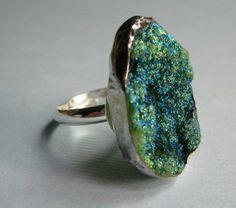 Deep Blue/Green Titanium Treated Druzy I Ring