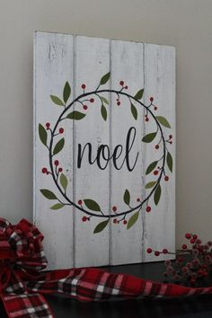 Noel Sign Christmas Sign Hand Painted Wood Sign Christmas Wreath Rustic Home Decor Mantle Decor Distressed Wood Christmas Gift