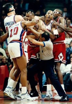 """Bad Boys"" (cheap shot artists) against the heroic Bulls.  (( check out X-Man Horace Grant))"