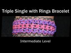 Rainbow Loom® Triple Single with Rings Bracelet - YouTube