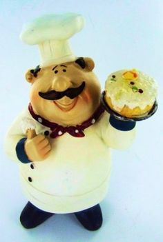 Fat Chef Statue Bistro Cooking Holding Cake Kitchen Figure: