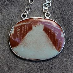 Photo-Enamelled!!! Wow. Enamel Necklace  Snow Covered Bridge  Sepia by lsueszabo on Etsy, $185.00