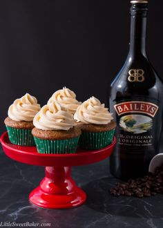 These soft and fluffy cupcakes are infused with a lovely coffee flavor and spiked with an Irish cream whiskey buttercream. They have all the flavors of an Irish coffee in a cupcake form.
