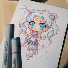 When I was younger I used to have a Sailor Moon OC called Sailor Silver Moon (lol, I was very original when I was a kid) so I thought I'd draw her again for the first time in years. #sailormoon #sailormoonoc #copicmarkers #copic #copicart #chibi #kawaii #traditionalart #traditionalartist #instaart #instaartist #instagramart #markerart