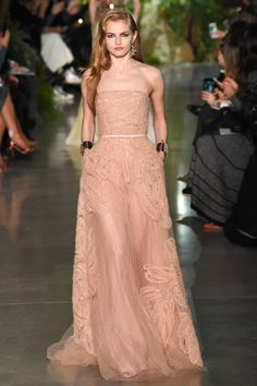 Elie Saab Spring Couture 2015 blush pink  strapless beaded lace gown