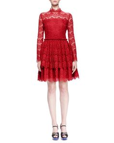 Floral Lace-Tiered Fit-And-Flare Dress by Lanvin at Bergdorf Goodman.
