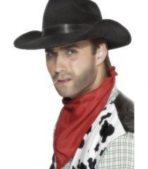 Palarie de cowboy de culoare neagra, cu banda asortata din matase. Marime pentru adulti.