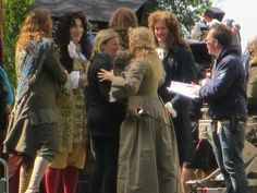 Directing himself as King Louis, in 'A Little Chaos'.