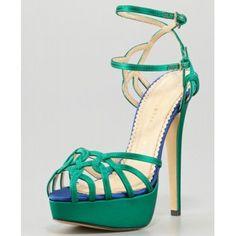 $172  Charlotte Olympia Ursula Satin Strappy Platform Sandal