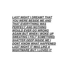 Last night I dreamt that you were beside me and that everything was perfect and nothing would ever go wrong again but when I woke up sweating I felt something shatter deep inside me! I don't know what happened last night it was like a nightmare but I love it...tumblr scream poem - Google Search