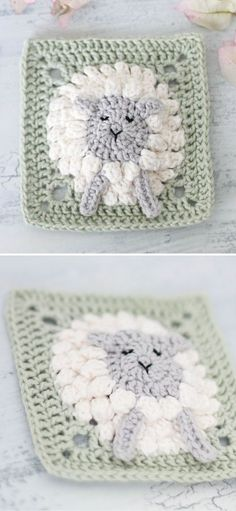 Grannies Crochet, Baby Afghan Crochet Patterns, Crochet Sheep, Crochet Blocks, Granny Square Crochet Pattern, Cute Crochet, Crochet Quilt Pattern, Crochet Flower Squares, Crochet Square Blanket