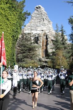 Michigan State University Spartan Marching Band performs at Disneyland on Dec. 30, 2013 on their Rose Bowl trip.