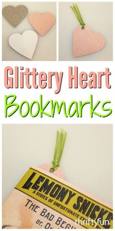 A simple useful Valentine can be a cute bookmark that you make. This is a guide about glittery heart bookmarks.