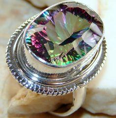 | Mystic Quartz Ring : Jaipur Mystic Quartz 925 Silver Ring | Handmade Mystic Quartz Ring : Wholesale Mystic Quartz Ring |