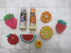 80's fruit erasers- I had the lemon slice, watermelon slice and the strawberry. My sister's would hide them for me to find. I loved it.