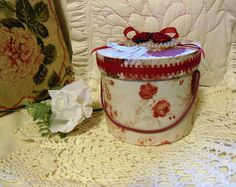 Hand Decorated,  Small Hat Box, Vanity or Storage Container