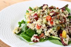 Quinoa salad with sweet bell peppers, dried cranberries, and turkey bacon