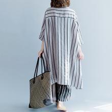 new gray striped linen dresses asymmetric patchwork o neck dress – SooLinen Long Linen Dresses, Trendy Dresses, Simple Dresses, Blue Dresses, New Mode, Patchwork Dress, Patchwork Patterns, Linen Tunic, Indian Designer Wear