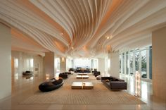 Awesome wavy ceiling architecture with lots of natural light at the Hilton Pattaya