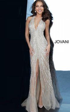 Jovani - 2609 Beaded Deep V-neck Trumpet Dress With Train Prom Dresses Jovani, Beaded Prom Dress, Pageant Dresses, Ball Dresses, Ball Gowns, Quince Dresses, 15 Dresses, Nude Prom Dresses, Dressy Dresses