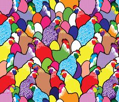I have a chicken sickness! Pop feathers fabric by lilola on Spoonflower - custom fabric