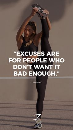 """Excuses are for people who don't want it bad enough."" - Unknown. #Gymshark #Quotes #Motivational #Inspiration #Motivate #Phrases #Inspire"