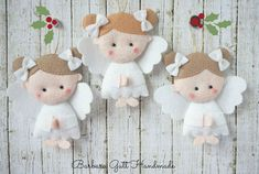 Barbara: Angels for Christmas / Angels for Christmas tree Felt Christmas Decorations, Felt Christmas Ornaments, Christmas Angels, Christmas Fun, Angel Crafts, Christmas Projects, Felt Crafts, Holiday Crafts, Christmas Sewing