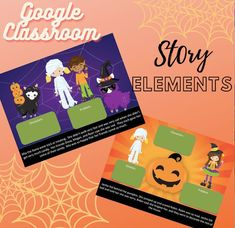 FOR GOOGLE CLASSROOM! Work on story elements that include setting, characters, solution, and problem. This has twenty slides to work on and improve reading comprehension skills. Fun and engaging Halloween activity!