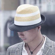 Fashion mens panama hat splice striped straw sun hats UV 9f689abdf502