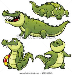 Vector illustration of Cartoon Crocodile Character Set - stock vector
