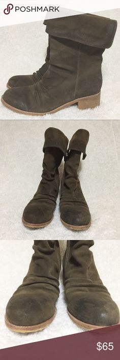 """Antelope 366 Mid Calf Foldover Shaft Boots Side zip, fold over. Suede. Khaki color. GUC. See all pics! Some wear at heel. Approximately 10"""" shaft height.  Approximately 1.5"""" heel. No box! Antelope Shoes Ankle Boots & Booties"""