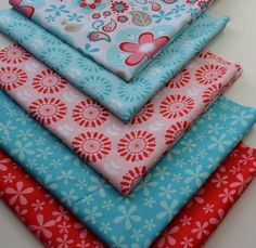 Riley Blake Children's Fabric/Aqua and Pink/ Red Flowers/Fat Quarter Fabric Bundle/ 5 Fat Quarters/Quilt Projects/Children's Clothing