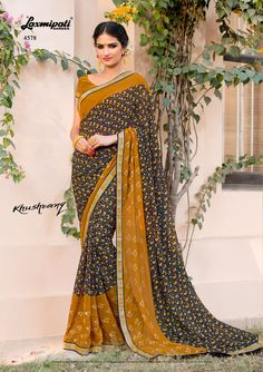 🔎 Browse this stunning multicolour multi designer foil work with satin silk lace border along with ocher yellow pashmina blouse from Khushrang, Design Number: 4578 Laxmipati Sarees, Lace Border, Printed Sarees, Daily Wear, Silk Satin, Bridal Collection, Print Design, Chiffon, Sari