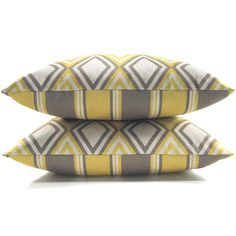 Gray and yellow pillow case - Geometric and striped designer print pattern on each side - 16x16 decorative pillow cover. $27.00, via Etsy.