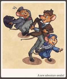 The Great Mouse Detective (1986) ~~ Animation | Adventure | Family ~~ When a little mouse girl's toy maker father is abducted by a peg-legged bat, she enlists the aid of Basil of Baker Street ~~ Artwork by Yara